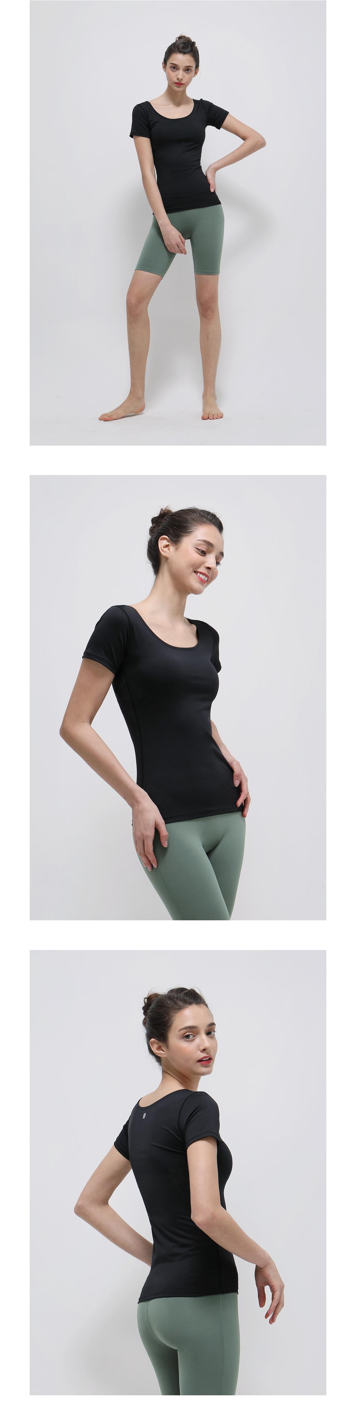 데비웨어(DEVIWEAR) 여성 요가복 DEVI-T0016-에쉬네이비 필라테스 티셔츠 반팔 U넥