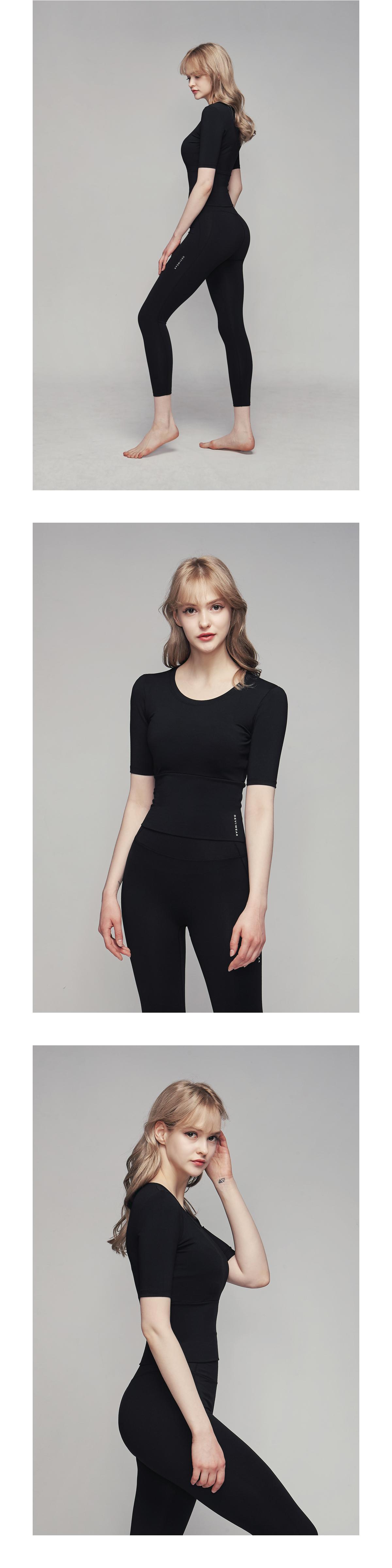 데비웨어(DEVIWEAR) 여성 요가복 DEVI-T0040-블랙 필라테스 반팔티 엣지 크롭 티셔츠
